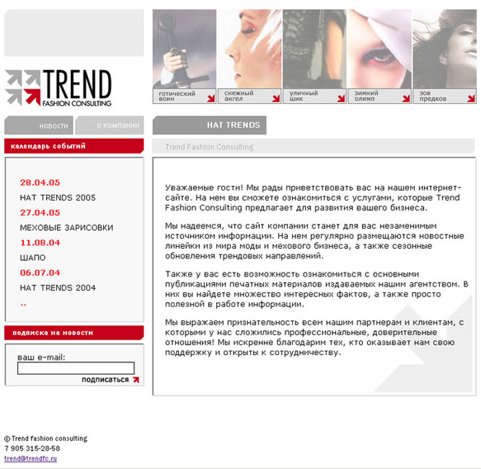 Trend Fashion Consulting - разработка веб сайта